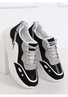 Dámské sportovní tenisky s vysokou podrážkou v bílo-černé barvě