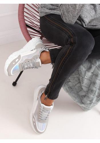 Bílo-šedé sportovní tenisky s vysokou podrážkou pro dámy