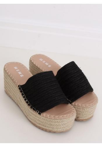 Černé letní pantofle s klínovým podpatkem pro dámy ve slevě