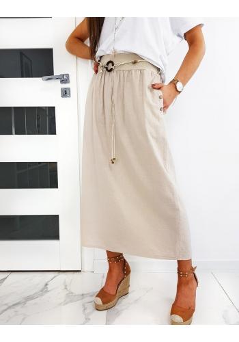 Béžová dlouhá sukně s páskem pro dámy ve výprodeji