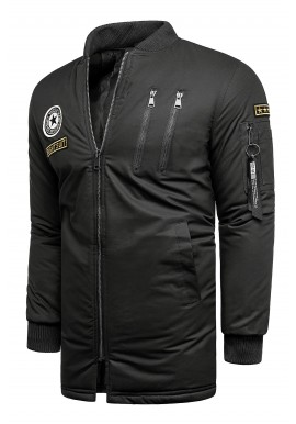 Pánská delší bunda na přechodné období v černé barvě