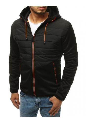 Pánská prošívaná bunda s kapucí v černé barvě