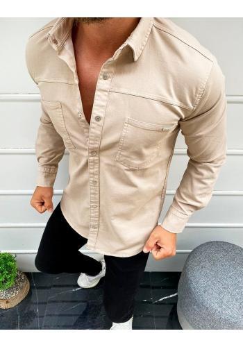 Pánská klasická košile s dlouhým rukávem v béžové barvě
