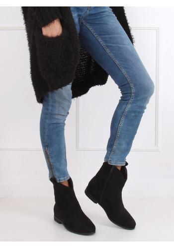 Semišové dámské kovbojky černé barvy na skrytém podpatku