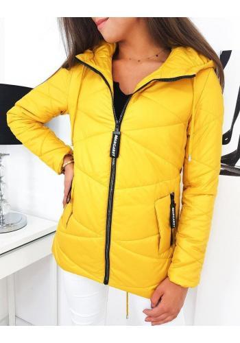 Dámská prošívaná bunda s delším střihem ve žluté barvě