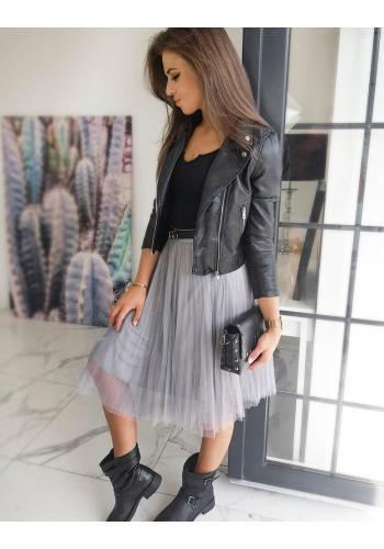Dámská krátká koženková bunda na jaro v černé barvě