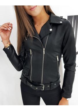 Černá koženková bunda s prošíváním pro dámy