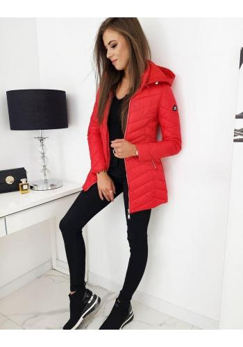 Dámská prošívaná bunda s odepínací kapucí v červené barvě