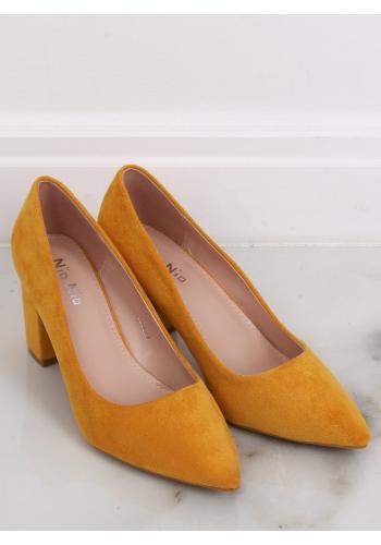 Žluté semišové lodičky na stabilním podpatku pro dámy ve slevě