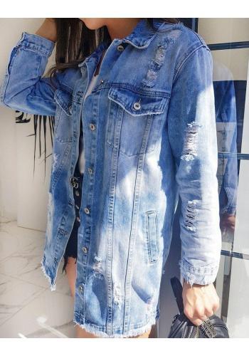 Dámská dlouhá riflová bunda s dírami v světle modré barvě