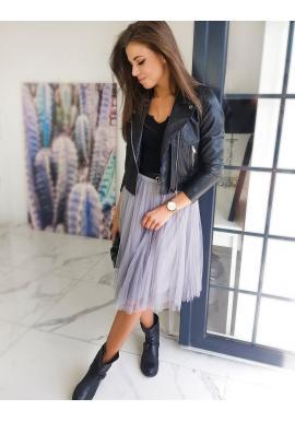 Tylová dámská sukně světle šedé barvy