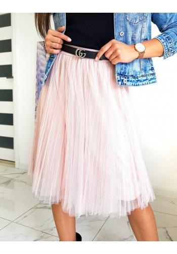 Dámská tylová sukně v práškově růžové barvě