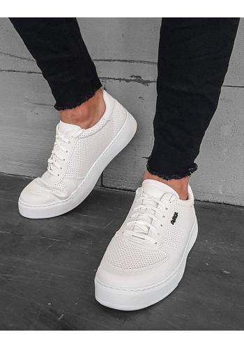 Pánské módní tenisky s děrovanou texturou v bílé barvě