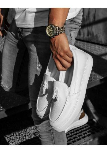 Pánské módní mokasíny na vysoké podrážce v bílé barvě