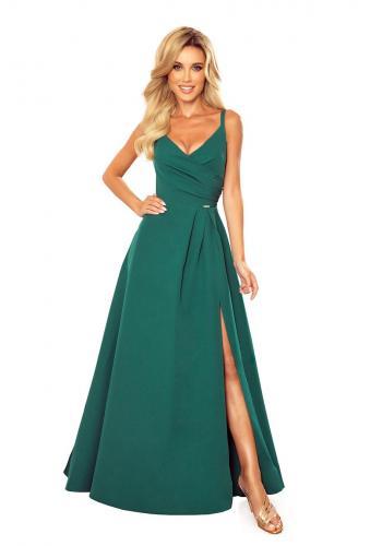 Maxi dámské šaty zelené barvy na ramínka
