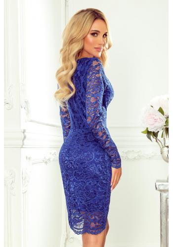 Modré krajkové šaty s dlouhým rukávem pro dámy