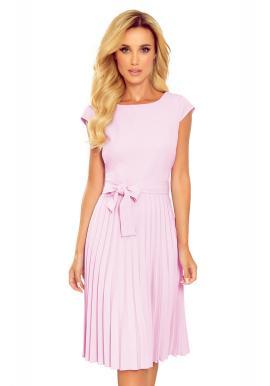 Světle fialové plisované šaty s krátkým rukávem pro dámy