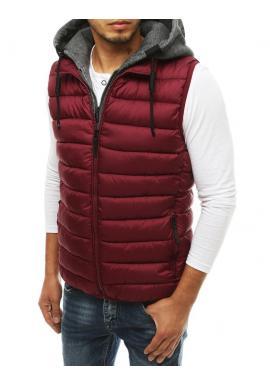 Bordová prošívaná vesta s odepínací kapucí pro pány