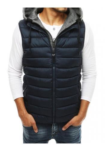 Pánská prošívaná vesta s odepínací kapucí v tmavě modré barvě