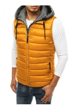 Prošívaná pánská vesta velbloudí barvy s odepínací kapucí