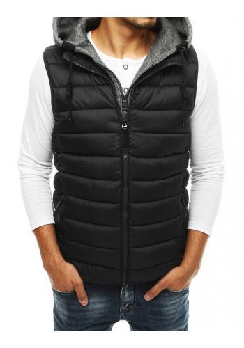 Pánské prošívané vesty s odepínací kapucí v černé barvě