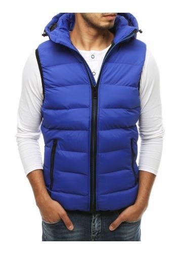 Prošívaná pánská vesta modré barvy s kapucí