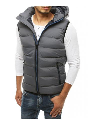 Pánská prošívaná vesta s kapucí v šedé barvě