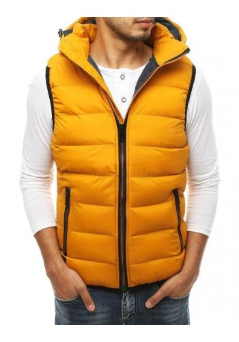 Žlutá prošívaná vesta s kapucí pro pány