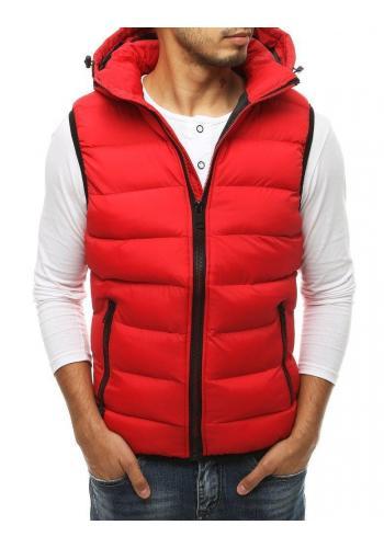 Prošívané pánské vesty červené barvy s kapucí