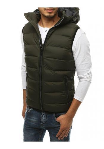 Zelená prošívaná vesta s kapucí pro pány
