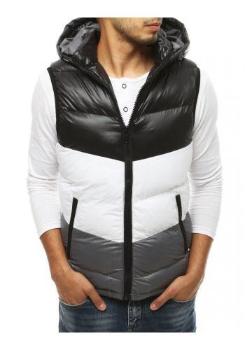 Pánská prošívaná vesta s kapucí v černé barvě