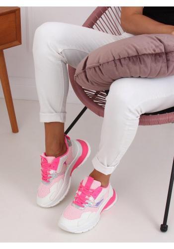 Dámské sportovní tenisky s masivní podrážkou v bílo-růžové barvě
