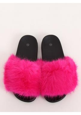 Módní dámské pantofle fuchsiové barvy s kožešinou