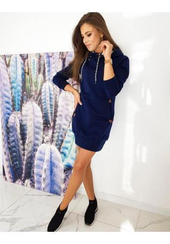 Mikinové dámské šaty tmavě modré barvy s kapucí