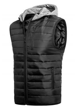 Pánská oteplená vesta s kapucí v černé barvě