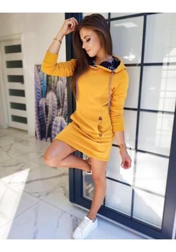 Žluté mikinové šaty s kapucí pro dámy