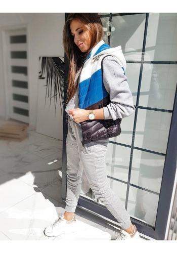 Modrá prošívaná vesta s kapucí pro dámy