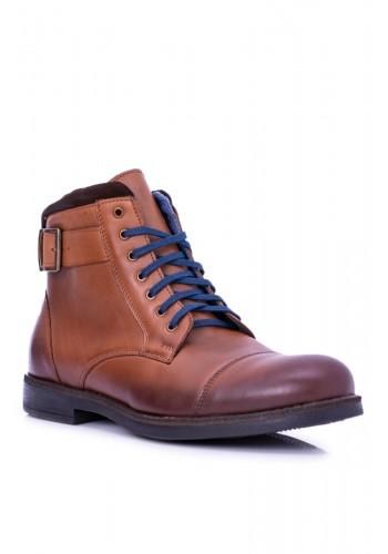 Kožené pánské boty hnědé barvy