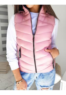 Prošívaná dámská vesta růžové barvy s kapucí