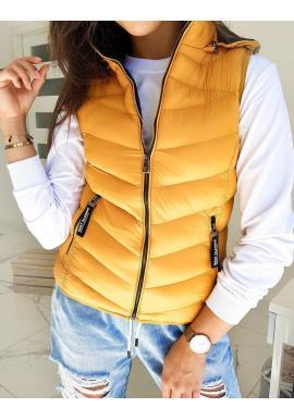 Dámská prošívaná vesta s kapucí ve žluté barvě