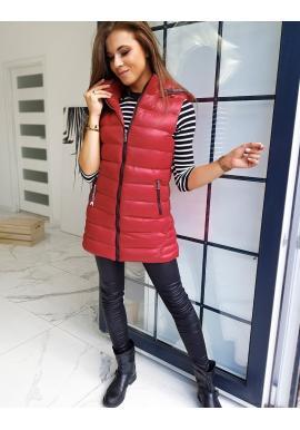 Dlouhé dámské vesty bordové barvy s kapucí