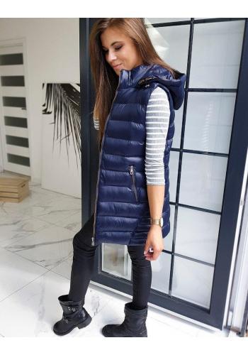Dámská dlouhá vesta s kapucí v tmavě modré barvě