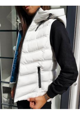 Bílá teplá vesta s kapucí pro dámy