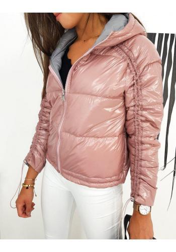 Oboustranná dámská bunda růžové barvy s nařasením