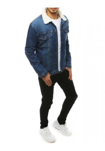 Riflová pánská bunda světle modré barvy s kožešinou