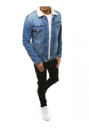 Světle modrá riflová bunda s kožešinou pro pány
