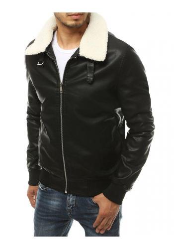 Pánská kožená bunda s kožešinovým límcem v černé barvě