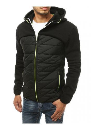 Černá prošívaná bunda na podzim pro pány