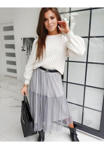 Dvouvrstvá dámská sukně šedé barvy s třpytkami