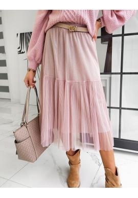 Růžová dvouvrstvá sukně s třpytkami pro dámy